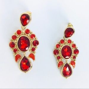 New! Red Crystals Statement Earrings Gold